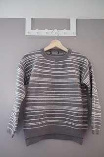 Dark grey womens sweater with white stripes
