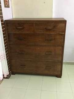🚚 Antique Solid Wooden Chest of Drawers (100x46x105cm) LxDxH