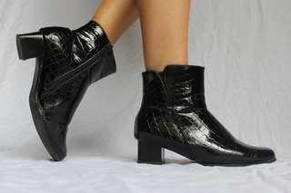 90s vintage croc leather chunky block heel ankle boots