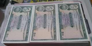 港幣拾蚊紙三張