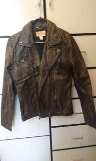 H&M against aids edition Leather Jacket 真皮皮褸 biker 皮褸