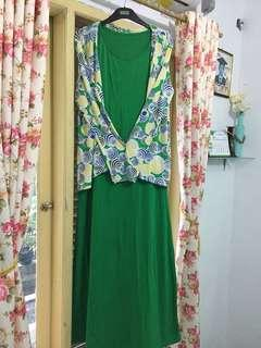 Gamis/Longdress set cardigan Warna Hijau Like New