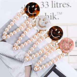 Brand New Pearl Smiley Marble Acetate Hairpin Hairclip