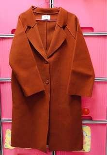🚚 韓風 流行大衣外套 毛呢外套 全新 (有口袋