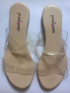2 strap clear sandals sz 6