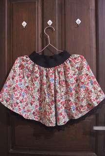 Floral Elastic Waist Skirt