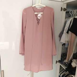 Lace Up Pink Dress