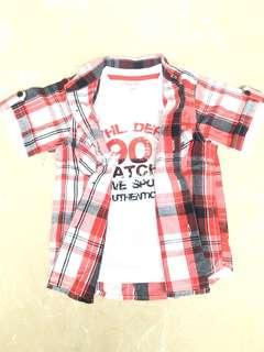 Pumpkin Patch Red Checkered Tshirt and Shirt combined