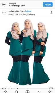 Zefiks Maudy Kurung in emerald green (L)