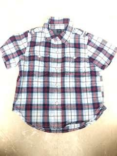 Baby GAP Blue and Red Checkered Short Sleeved Shirt