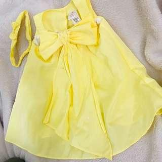 Yellow dress with headband 12months