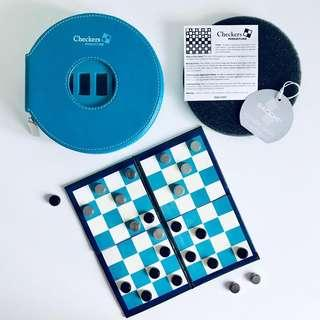 Magnetic Checkers Set Leatherette case travel