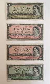 1954 年加拿大紙幣四張