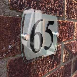 🆒🆕 Custom Frosted Rectangle House Sign Plaque Street Door Number Acrylic Silver Name