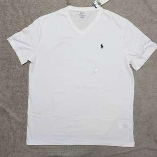 Lauren Vneck logo Men Tee White 男裝白色V領小馬logo大碼