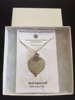 Fine Silver Real Aspen 🌳 Leaf Necklace (Made in USA) FREE: Handmade Bracelet from Solvang, California