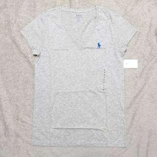 Polo Ralph Lauren Vneck logo Women Tee Grey女裝V領小馬logo細碼灰色Tee