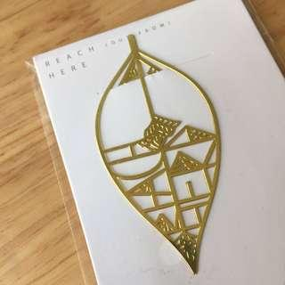 Leaf shape brass metal cut-out bookmark