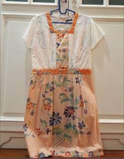 Dress Cantik Batik Melati warna Orange