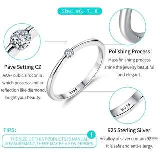 🆕🆒 Authentic 925 Sterling Silver Rings Round Zirconia Crystal Finger Rings for Women Wedding Original Silver Jewelry