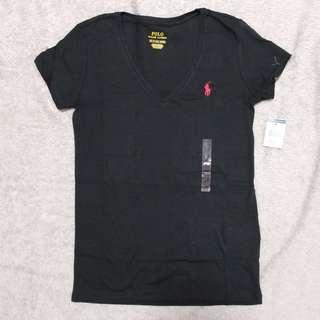 Polo Ralph Lauren Vneck Women Tee Black女裝V領小馬logo加細碼黑色