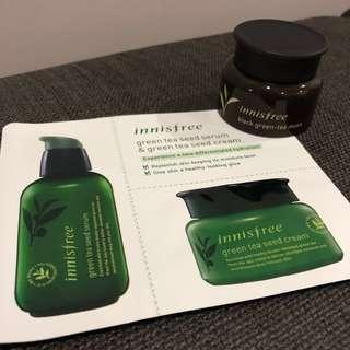 💯 [Innisfree] All ~ Black Green Tea Mask (20ml), Green Tea Seed Serum & Cream #MMAR18