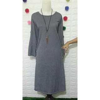 Dress Branded G&A Striped Biru Dongker Bigsize Jumbo Plussize