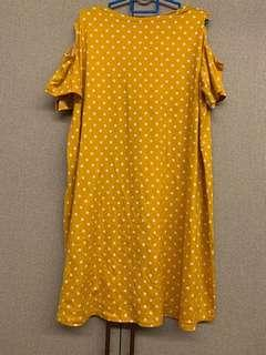 🚚 Yellow dots Cold shoulder plus size dress preloved