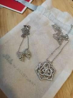 Rose and ribbon necklaces (sold together/separately)