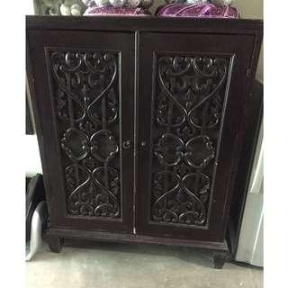 Antique chocolate brown 2Door  cabinet
