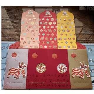 7 pcs OCBC 2019 Private Premier Retail Set Lion Red Packet / Ang Bao Pow Pao Pau