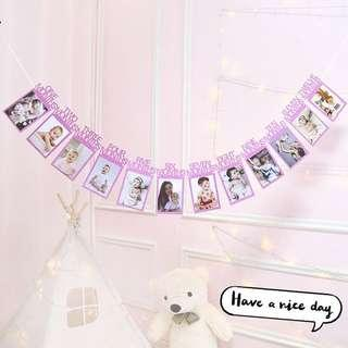 **NEW ARRIVAL** Baby Birthday Milestone Banner Deco - Shiny Metallic Pink