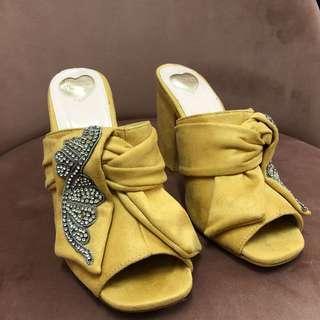 NEW Velvet Yellow Mules