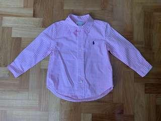 Ralph Lauren baby pink / white long sleeve checkered shirt 24M