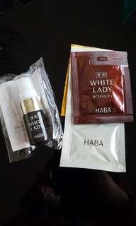 日本 Haba white lady 8ml +2.5ml extra + VC lotion 7ml + whitening squalane 美白鯊稀美容油 1ml travel pack 試用裝