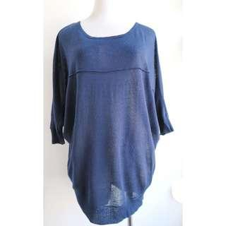 MOUSSY blue knit top sweater (Free size) 藍色針織上衣