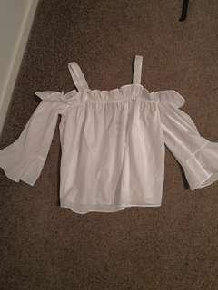 White ruffel off the shoulder top