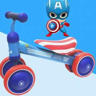 Baby scooter captain America. Baby strider balancing scooter