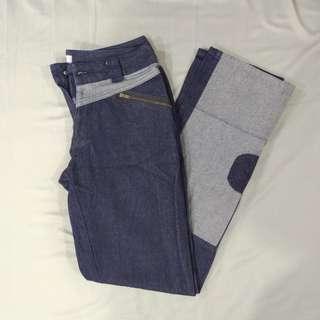 🚚 [九成新] 造型拼接牛仔褲 深藍