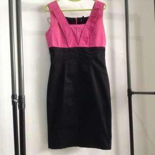 TANGS Designer Pink Black Color Block Pencil Dress