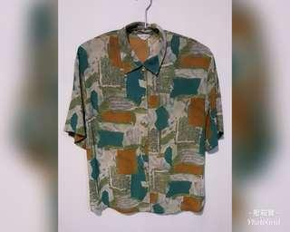 【已售出,請勿下標】《壓箱寶》二手古著 色塊短袖襯衫