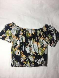 Floral off-shoulder crop top