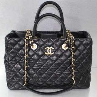 Chanel Black Calf Handbag With Strap