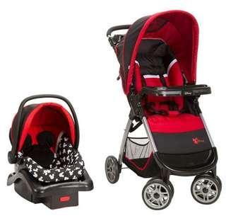 (PO) BN Disney Amble Quad Travel System Baby Pram Stroller + Detachable Infant Car Seat, Mickey Silhouette Red