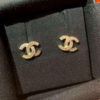 Authentic BNIB Chanel Gold Earrings with Crystals