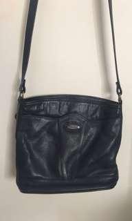 Vintage navy leather bag