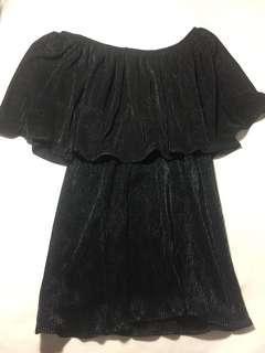 Black silk offshoulder top