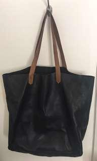 Genuine Black and Tan Leather side bag