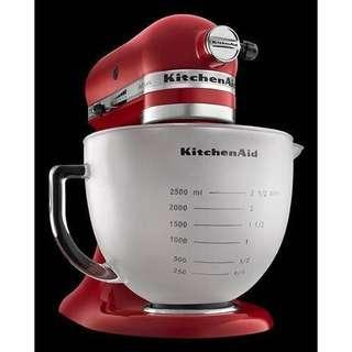 KitchenAid frosted glass bowl K5GBF with measurement markings and lid