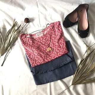 NEVADA Pink Denim Floral Dress